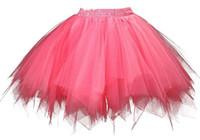 Wholesale Ladies Pettiskirt Skirts - Adult Teen pettiskirt tutu dress plus size tulle Vintage 80 60 50s Cheap hoopless modern girl bridal lady formal skirt with sashes