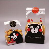 bread packaging venda por atacado-Open-top Cute Dog Cat Design Bakery Embalagem de alimentos Bolachas Bolsas Embalagem de alimentos OPP Plastic Snack Bread Bags