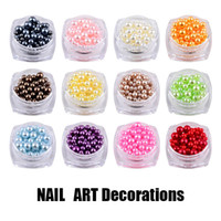 Wholesale 3d Nail Art Pearls - New Mix Sizes Round Colorful 3D Nail Art Pearl Decorations DIY Beauty Nail Beads 3mm 4mm 5mm Jewelry Tools Manicure 2017 Hot