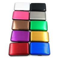 Wholesale Purple Aluminum Wallet - 6 Card Slots Hot Sale Surface Waterproof Fashion Aluminum Card Holder Package Business ID Credit Card Wallet Case Pocket Purse
