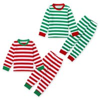 Wholesale Girls Cotton Nightwear - Children Christmas Pajama Sets Baby Kid Boys Girls Striped Nightwear Pajamas Set Sleepwear baby clothing sets