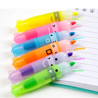 флуоресцентная писчая ручка оптовых-6PCS Mixed Color Boat Shape Fluorescent Pen Highlighter Marker Writing School Gift Cute Kawaii Office Accessory Store Stationary