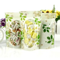Wholesale Square Valve - 12*20cm Snack Tea Candy Storage Clear Poly Valve Packaging Pouch Heat Seal Green Leaf Ziplock Resealable Bag ZA4169