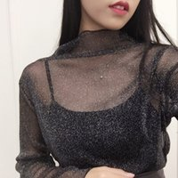 Wholesale Shining Woman Shorts - Wholesale- Women Glitter Sheer Mesh Top New Women Long-Sleeve Casual Perspective Hollow Out Female Top Tee Sexy Shine Basic T shirt