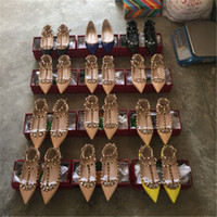 Wholesale Genuine Leather Ballerina Shoes - 2017 hot sales Fashion Women Rivet Shoes Flats Genuine Leather Ankle Strap Pointed Toe Studded valentine Shoes Ballerinas free shipping
