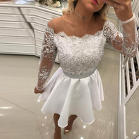 Wholesale pearl see through dress resale online - White Short Prom Dresses Off Shoulder Long Sleeves Appliques Lace Pearled Satin See Through Back Short Homecoming Dresses Party Dresses