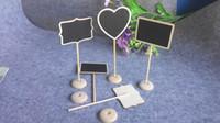 tahta tablo toptan satış-Beyaz Çerçeveli Kaydırma Ahşap Mini Blackboard Kara Tahta Standı Düğün Dekorasyon Masa Numarası Yer Tutucu Gıda Etiketleri