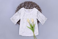 Wholesale Solid Girls Tshirts Wholesale - Girls Summer T-shirts white lace Half sleeve Princess Tshirts Children Clothing 1-4T D0088