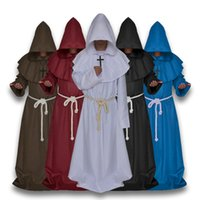 Wholesale black priest - Wholesale Halloween Cosplay Costume Medieval robes Medieval Frock Robe Monk Costume Shaman Priest Cos