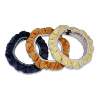 Wholesale car steering wheel accessories - 10Pcs Lot Car Steering Wheel Decals Winter General Plush Lint Steering Wheel Cover Soft Imitation Wool Accessories