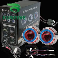 Wholesale Hid Projector Headlight Kit - Car Bi-Xenon HID Projector Lens Kit with Double angel eyes include HID bulb For car headlight high low beam 14 months warranty KF-K1011