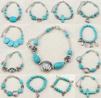 Wholesale Turquoise Elephant Bead - New Bohemian charm bracelets elephant turquoise hand beads anti-fatigue bracelets and bangles for women party jewelry