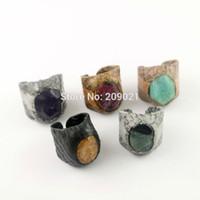 gemischte edelstein-steinringe großhandel-Neue Mode ~ 6Pcs Mischfarbe Snakeskin Mix Style Stein Druzy Gem Ringe Schmuck finden