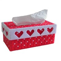 Wholesale Heart Cross Stitch - Wholesale- Hot Sale Stereoscopic rectangular tissue Boxes Four Hearts 3D Cross Stitch Embroidery Pumping tray Home Car Decoration