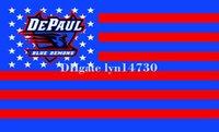 logotipos de estrela azul venda por atacado-DePaul Demônios Azuis EUA bandeira da listra da estrela e logotipo NCAA bandeira crânio bandeira 90x150 cm poliéster digital com 2 Ilhós De Metal