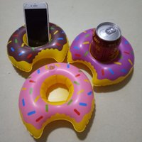 Wholesale Inflatable Sofa Kids - Inflatable Donut Water Float Phone Drink Holder PVC Summer Cartoon Swimming Toys for Adult Kids Outdoor New