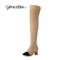 Wholesale Sexy Strech - Wholesale-Women Square Heel Over The Knee Sexy Strech Nubuck Leather Thigh High Boots 2016 Autumn Winter Fashion Brand Design Shoes Women