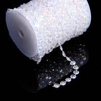 akrilik kristal boncuk telleri toptan satış-30 metre 99 Ayaklar Garland Elmas Strand Akrilik Kristal Boncuk Düğün Dekor Doğum Günü Noel Dekor DIY Perde Dekorasyon