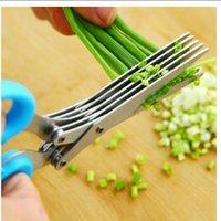tesouras de cozinha venda por atacado-Aço Inoxidável Tesoura De Cozinha Forfex Cinco Camadas De Cebola Verde Cut Shears Seaweed Clipper Cuting Scissor Escritório 11 6rr R