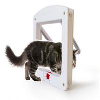 Wholesale Pet Door Small - 4 Way Locking Pet Dog Cat Flap Door Doggy Lockable Magnetic Tunnel Frame Porte