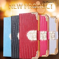 Wholesale Diamond Crystal Case Phone - For iphone 7 phone cases PU Leather wallet Case with card slot stand Luxury Glitter Crystal Diamond For iphone 6s plus Samsung S7