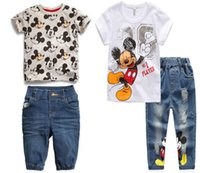 Wholesale Boys Kids Pants Shorts Jeans - New kids suit boys clothing summer kids mickey clothes kids T-shirt+jeans pant 2 pieces children clothes suit