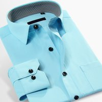 Wholesale Green French Cuff Shirt - Wholesale- French Cuff Button Men Dress Shirts New Non Iron Luxury Slim Fit Long Sleeve Brand Formal Business Fashion size XXXXL