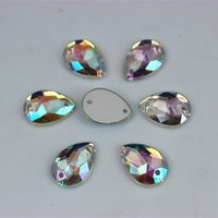 300pcs 10*14mm AB Color Acrylic Crystals Rhinestones Drop accessories Flat Back beads For Sewing Dress Wedding stones 2 Hole ZZ5