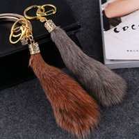 2cf22ebb90d1 15 cm Large Fox Tail Fur Tassel Bag Tag Keychain Strap Chain Faux Fur Plush  Car Key Chain Ring Pendant For Bag Charm