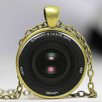 Wholesale Jewelry Lenses - Vintage Camera Lens Necklace art photo pendant Fairytale girl chain Jewelry women men gift antique charm