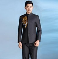Wholesale Chinese Boys Suit - Chorus mariage groom wedding suits for men blazer boys prom suits chinese tunic suit slim masculino latest coat pant designs