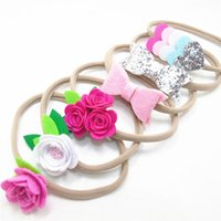 Wholesale Girls Stretch Headbands - Hot Sell Baby Girls Rose Flower Love Heart Bow Party Stretch Headbands Princess Nylon Headwear Girls Gift E060