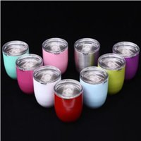 Wholesale Layer Egg - 9 Colors 10oz Egg Cup Double Layer Stemless Mugs Powder Coated Stainless Steel Beer Wine Glasses Vacuum Insulated Cups CCA7101 24pcs