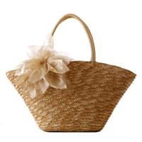 Wholesale Summer Weaved Straw Totes - Wholesale- 2016 Women Shell Shaped Summer Bag Handmade Woven Hand Bags Straw Beach Bag Shopping Tote Bags Woman Flower Handbag JXY349