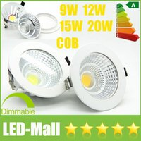 1pcs популярные CREE 9W 12W 15W 20W Dimmable LED COB Downlights Электропитание 110V 240V Светильники встроенные потолочные светильники