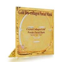 mascarilla dorada al por mayor-Mascarilla Facial Gold Bio - Colágeno Barro Hoja facial Máscaras Polvo de cristal dorado Hidratante Anti envejecimiento Blanqueamiento Cuidado de la piel Belleza más suave