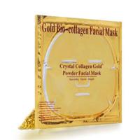 feuilles de masque achat en gros de-Masque facial Gold Bio - Boue au collagène Masque facial Masque Poudre de cristaux dorés Hydratant Anti-âge Blanchiment des soins de la peau Une beauté douce