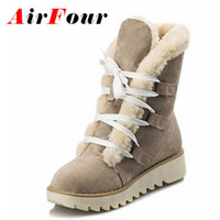 Wholesale Thick Sole Platform Boots - Wholesale-Airfour Fashion Warm Thick Fur Lace-up Winter Shoes Woman Round Toe Platform Skidproof Sole Ankle Boots Women Snow Boots