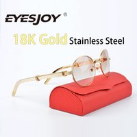 Wholesale Frames Steels - Luxury Gold Stainless Steel Sunglasses A symbol of wealth Fashion Brand Designer Sunglasses Round Frame(55or57mm) With Red Box & Accessories