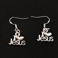ingrosso antico jesus-Amo Gesù Cuore Orecchini Argento 925 Gancio per l'orecchio di pesce 30 paia / lotto Argento antico Lampadario E385 15.7x30mm
