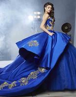 meninas masquerade vestidos de baile venda por atacado-Detalhe de luxo de Ouro Bordado vestido de Baile Vestidos de Casamento com Peplum 2017 Masquerade vestido de Baile Azul Royal Sweety 16 Meninas Nupcial Gownn
