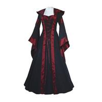 traje de mujer victoriana al por mayor-Venta al por mayor- Vestido medieval Vestido estilo gótico de las nuevas mujeres de la vendimia Vestido de bola pirata Vestido campesino moza Vestido victoriano