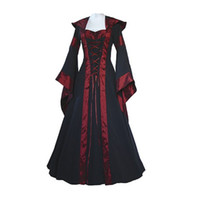 Wholesale Woman S Pirate Costumes - Wholesale- Medieval Dress New Women Vintage Style Gothic Dress Costume Pirate Ball Gown Peasant Wench Victorian Dress
