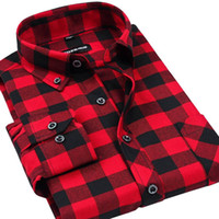 Wholesale Mens Slim Wholesale Clothes - Wholesale- Fall Winter 2017 New Mens Casual Plaid Shirts Long Sleeve Slim Fit Comfort Soft Flannel Cotton Shirt Leisure Styles Man Clothes