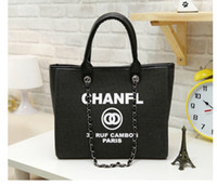 Wholesale Brown Bucket Handbags - High Quality Shopping Bags Classic Letter Canvas Handbags Luxury Brands Women Shoulder Bags Chain Bags