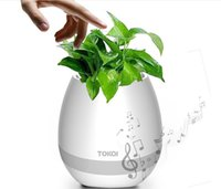 Smart Bluetooth Music Player Waterproof Speaker Mini Flower Pot Vase Avec Touch Sensor Light Up Plastique sans fil pour Office Home Plant DHL