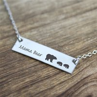 Wholesale Cute Lettering - New Fashion Cute animal bears necklace jewelry wholesale. Lettering Mama Bear with three bears Handmade bar Necklace. Warm motherly love