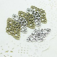 Wholesale vintage filigree - Sweet Bell (Min Order 30 pieces) Hollow Filigree Flower Charm Jewelry Connectors 25*41mm Vintage Filigree Jewelry Charms D0871