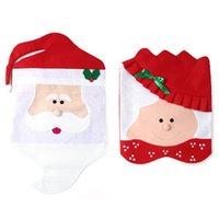 sra santa claus venda por atacado-Novo Design Mr Mrs Santa Cadeira Cobre Papai Noel Natal Navidad Decorações de Natal Para Casa Natal Sala de Jantar Cadeira Capa