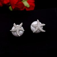 Wholesale Starfish Pearl Stud Earrings - Europe and the United States zircon micro-studs female 925 silver needle anti-allergic starfish pearl before and after wearing earrings ear